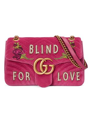 Gucci GG Marmont Medium Embroidered Velvet Blind for Love Shoulder Bag