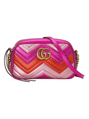Gucci GG Marmont Small Quilted Metallic Leather Camera Bag