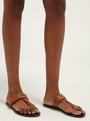 Gucci gg marmont t-bar leather sandals