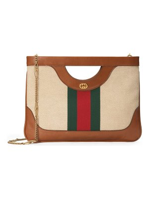 Gucci gg vintage canvas & leather shoulder bag