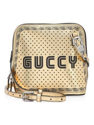 Gucci guccy print mini shoulder bag insega? font