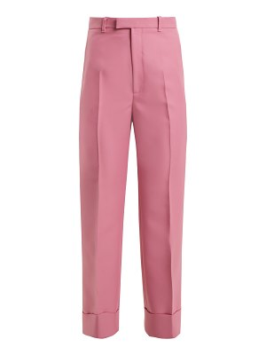 Gucci High Rise Straight Leg Twill Cropped Trousers