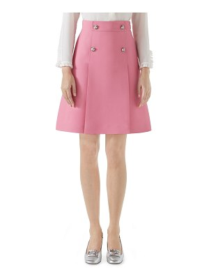 Gucci High-Waist A-Line Cady Crepe Wool Silk Skirt