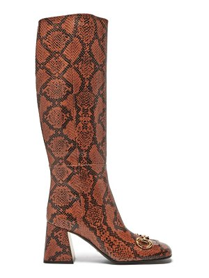 Gucci horsebit python-effect leather knee-high boots