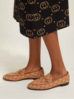 Gucci jordaan gg jacquard canvas loafers
