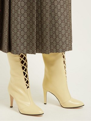 Gucci lattice front knee high leather boots