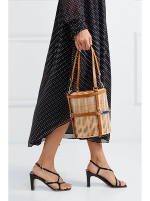 Gucci linea cestino leather-trimmed wicker bucket bag