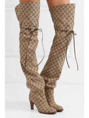 Gucci leather-trimmed logo-jacquard over-the-knee boots
