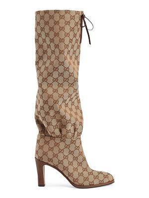 Gucci lisa tie tall boots with logo