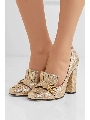 Gucci marmont fringed logo-embellished metallic cracked-leather pumps