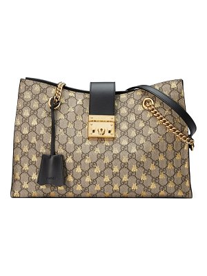 Gucci medium padlock gg supreme bee tote