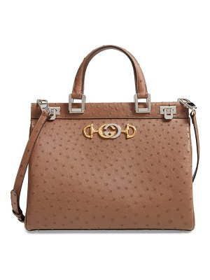 Gucci medium zumi top handle ostrich leather bag