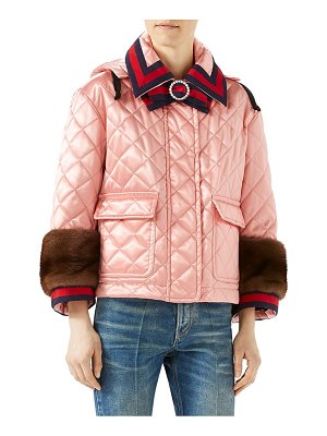 Gucci mink-trim quilted jacket