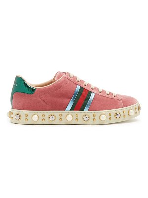 Gucci New Ace faux-pearl embellished velvet trainers