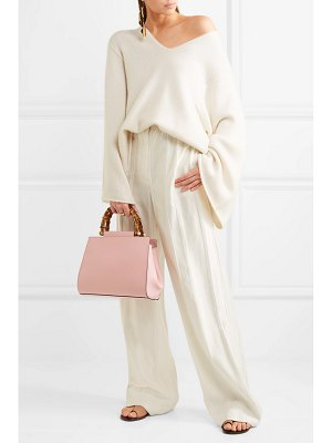 Gucci nymphaea bamboo small leather tote