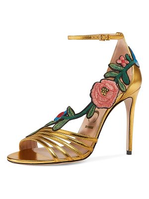 GUCCI Ophelia Embroidered Metallic Sandal