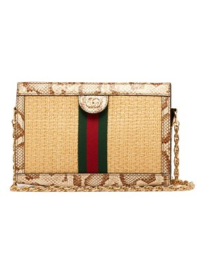 Gucci ophidia small watersnake trim woven bag