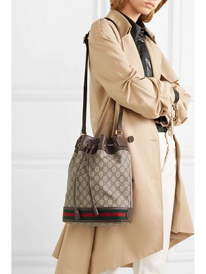 Gucci ophidia textured leather-trimmed printed coated-canvas bucket bag
