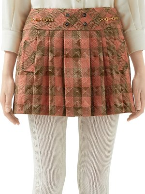 Gucci optical damier wool mini skirt
