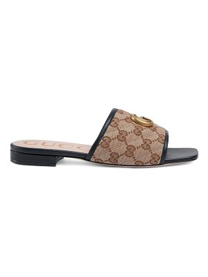 Gucci original gg canvas slides with double g