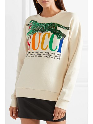 Gucci oversized embellished printed cotton-terry sweatshirt