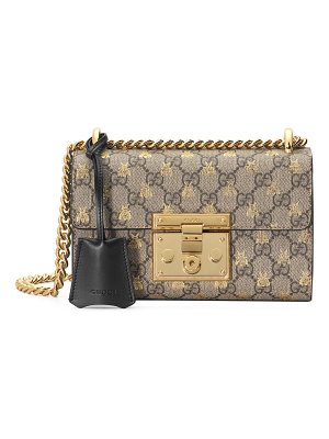 GUCCI Padlock Small Gg Supreme Bees Shoulder Bag