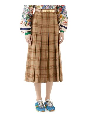 Gucci pleated check long skirt