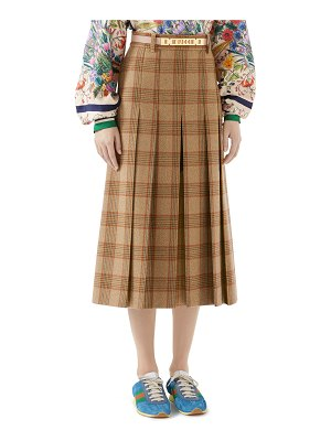 Gucci Pleated Hunting Check Wool Midi Skirt w/ Leather Belt