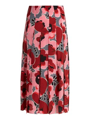Gucci Poppy Print Pleated Silk Crepe De Chine Skirt