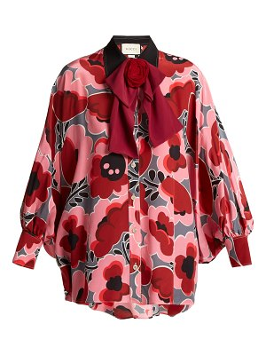 Gucci Poppy-print silk blouse