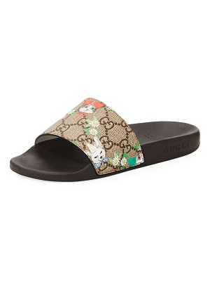 GUCCI Pursuit Cat-Print Gg Supreme Slide Sandals
