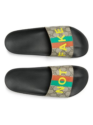 Gucci pursuit fake/not slide sandal