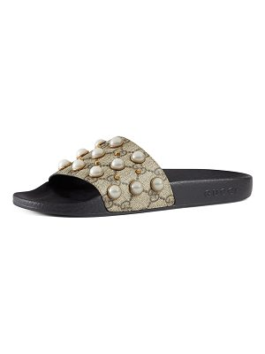 GUCCI Pursuit Pearly-Studded Gg Supreme Slide Sandal