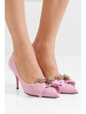 Gucci queen margaret embellished leather pumps
