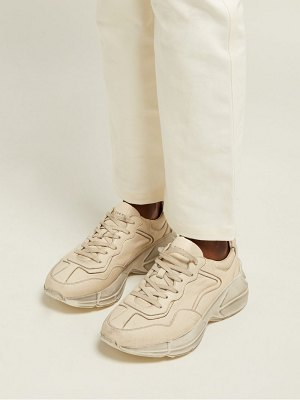 Gucci rhyton worn effect low top leather trainers