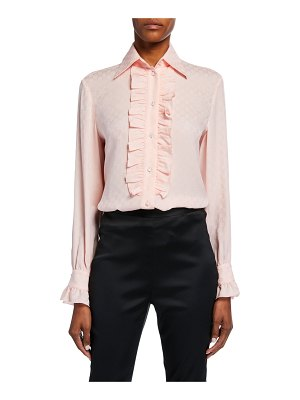 Gucci Ruffled Button-Front Silk Crepe Shirt