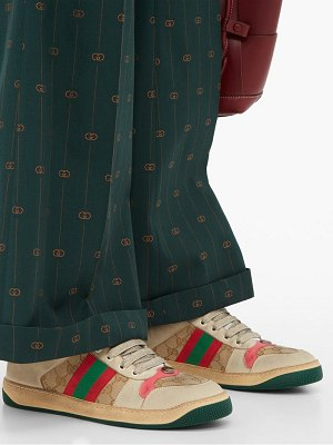 Gucci screener gg-logo distressed-leather trainers