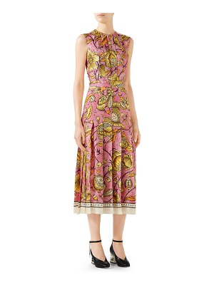 Gucci Sleeveless Watercolor-Floral Silk Midi Dress