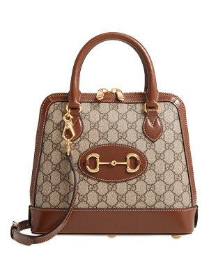 Gucci small 1955 horsebit canvas & leather satchel