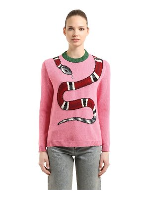 Gucci Snake intarsia wool knit sweater