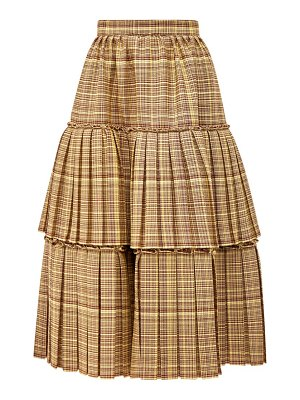 Gucci tiered checked wool-blend midi skirt