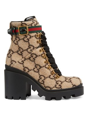 Gucci trip gg wool combat boots