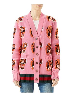 GUCCI Jacquard Tiger Wool Cardigan
