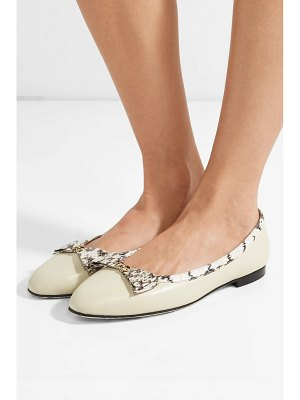 Gucci yva logo-embellished elaphe-trimmed leather ballet flats