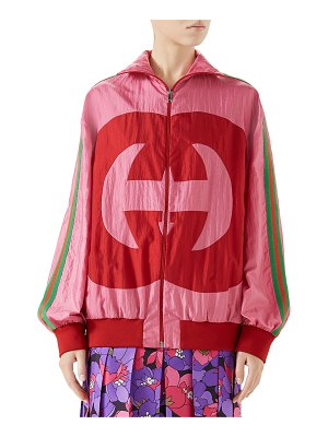 Gucci Zip-Front Technical Nylon Jacket w/ GG Intarsia
