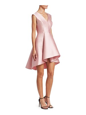 H Halston structured satin flare dress