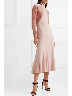 Haider Ackermann velvet-paneled crepe midi dress