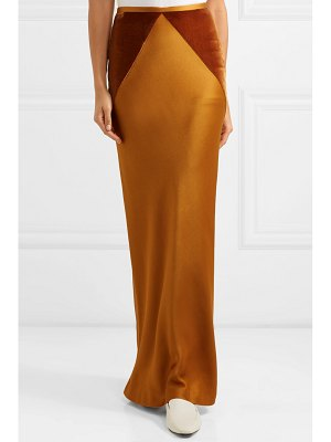 Haider Ackermann velvet-paneled satin maxi skirt