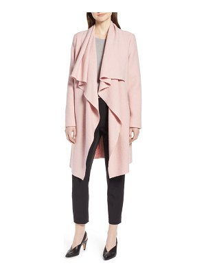 Halogen halogen boiled wool blend drape front coat