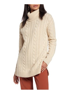 Halogen halogen cable turtleneck tunic sweater